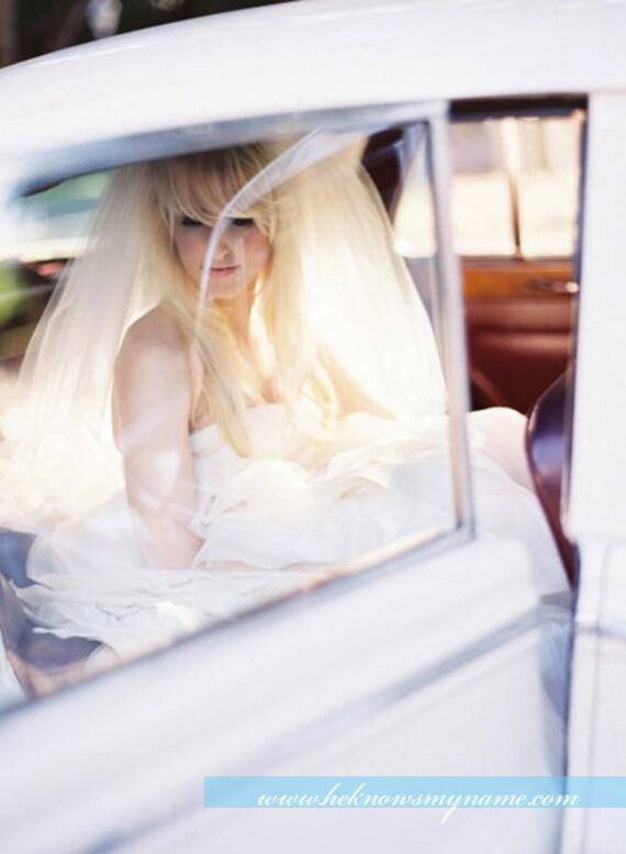 Weddings Bridal Accessories Veil, Double Layered Waistline Veil - blusher veil, clean cut edge, tulle, elbow length