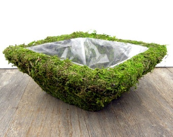 Square Mossy Basket-Great for Bonsai-Wire basket with liner-Fairy Garden Planter-Wedding Centerpiece