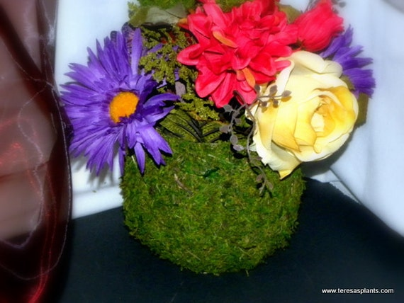 Moss Vase Creations By Teresa-Woodland vase centerpiece-Candle Holders of moss-Go Green with Moss Glass-Garden party vase