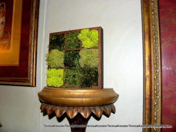 Moss wall Art-Mossy Tic-Tac-Toe Centerpiece-Wooden showcase of Preserved Reindeer Moss -Mood Moss-Fern Moss Custom made to order