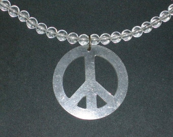 Vintage 80s Necklace Peace Sign in Clear Perspex, 80s accessories and jewelry