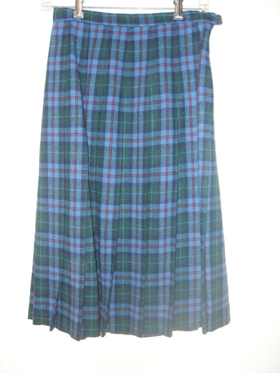 sale vintage 80s kilt skirt blue plaid pleated by