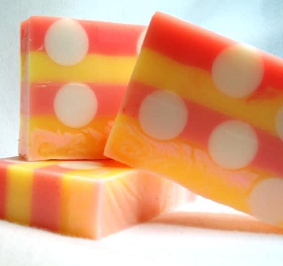 Pink Grapefruit Soap, Handmade, Striped, Polka dots, Fresh citrus fragrance, gentle