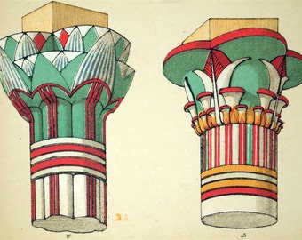 Oversized Poster of Egyptian Columns for your Wall. Reproduction of an 1865 Owen Jones Design. 3 feet x 2.5 feet.