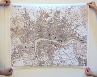 "Wall Sized Reproduction Sepia Toned Reproduction Print of 1854 Map of London, England. 40"" x 50"""