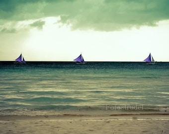 Nature Seascape Boats Beach Philippines Photograph. Peaceful Blue Sailboats at Boracay. 8x12