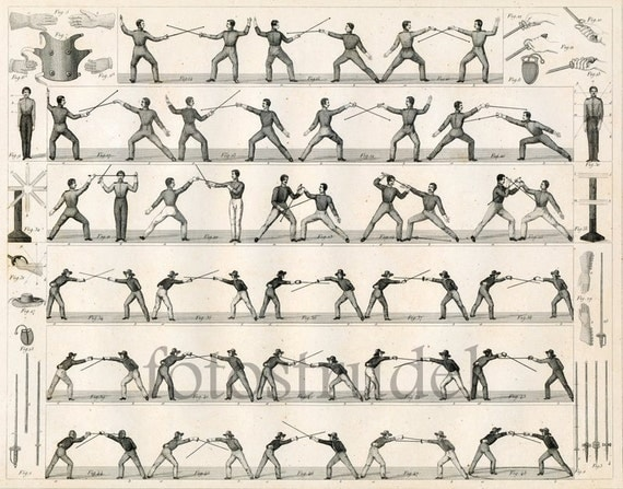 "Poster Size High Quality Reproduction of 1860 Fencing Print Approx 25.5"" x 19.5"""