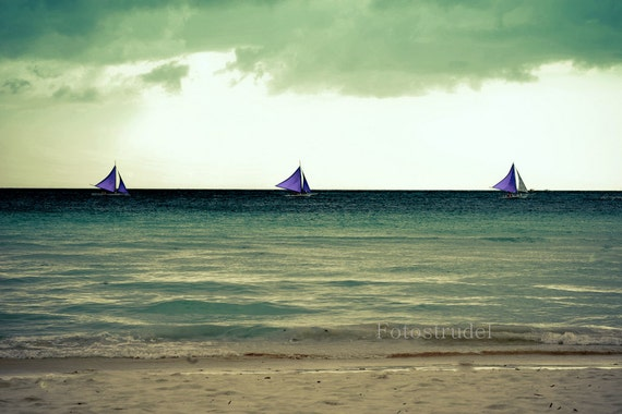 Nature Seascape Boats Beach Philippines Photograph. Peaceful Blue Sailboats at Boracay. 8x12