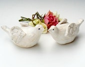 White Dove Wedding - handmade wedding cake toppers stoneware pottery