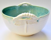 SECOND SALE White Dragonfly Serving Bowl handmade stoneware pottery