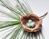 Bird's Nest with Eggs handmade ceramic ornament