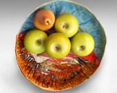 "Rustic Bowl Large Pottery casserole baking dish handmade Lace bowl Gourmet cook gift Joyful Blaze 11"" D 18 cups"