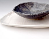 modern Ceramic Bowl - textured lace  pottery midnight blue