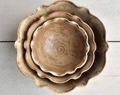 minimalist ceramic bowls nesting bowl set of 3 flower shape handmade serving bowls Autumn brown