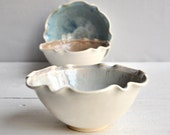 minimalist pottery  Bowl Cloud Gray and White glazes  2 cup Flower bowl artisan food lover gift