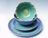 4pc stoneware pottery dinnerware set - Blue  Turquoise  - MADE TO ORDER
