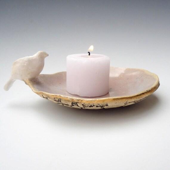 White Dove Wedding - handmade stoneware pottery candle holder