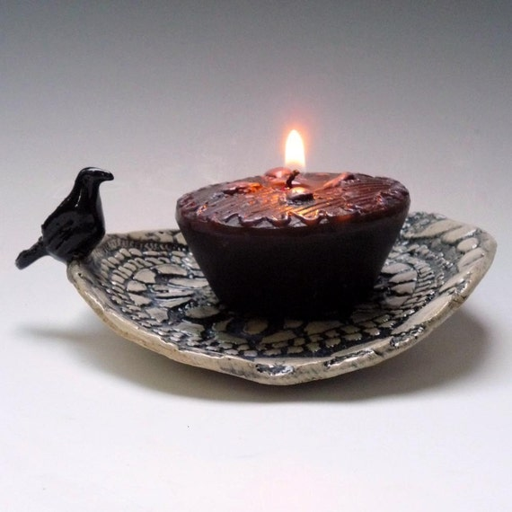 Black Raven - tiny tray candle holder hand built stoneware pottery by OneClayBead