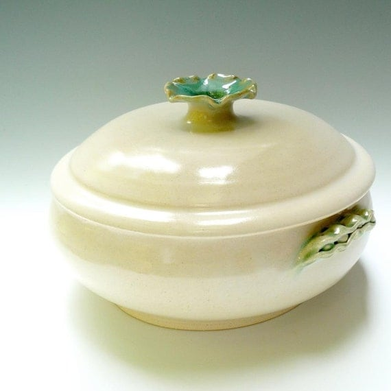 White ceramic casserole lidded casserole with Pea Pod Handles handmade stoneware pottery baking dish 2 quart