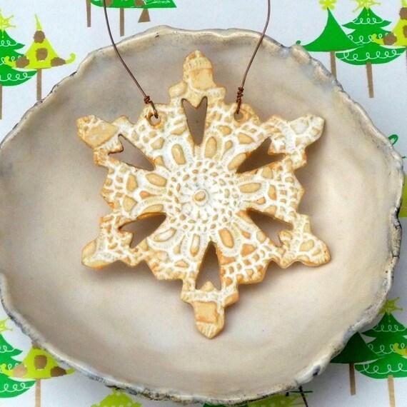Christmas tree Ornament Rustic handmade Snowflake ornament