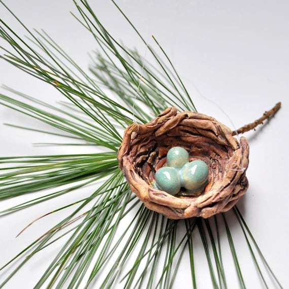 Bird's Nest with Eggs handmade ceramic ornament