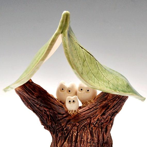 Family Tree Woodland Magic Series 3 Owls ceramic pottery handmade sculpture faux bois