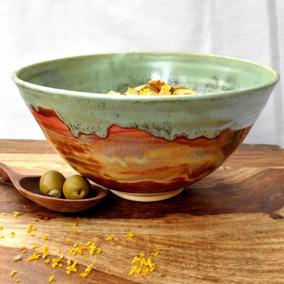 Large Ceramic Serving Bowl Noodle bowl green rust Autumn Song