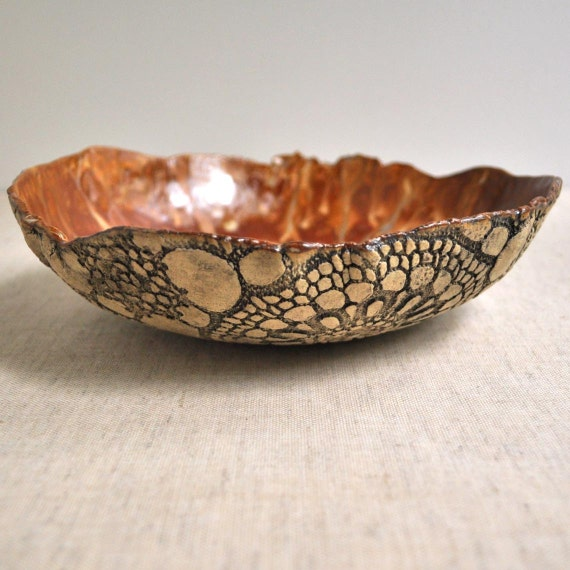 modern organic Serving Bowl rustic hand built ceramic bowl Textured Lace in Sunday Coffee 3 cup