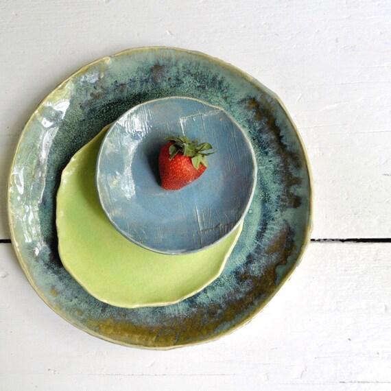 modern ceramic dinnerware place setting SECONDS SALE Urban Rustic series teal,green,seafoam
