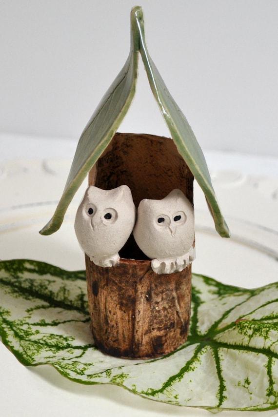 Custom Wedding cake topper Owl wedding cake topper Owl House Woodland wedding faux bois