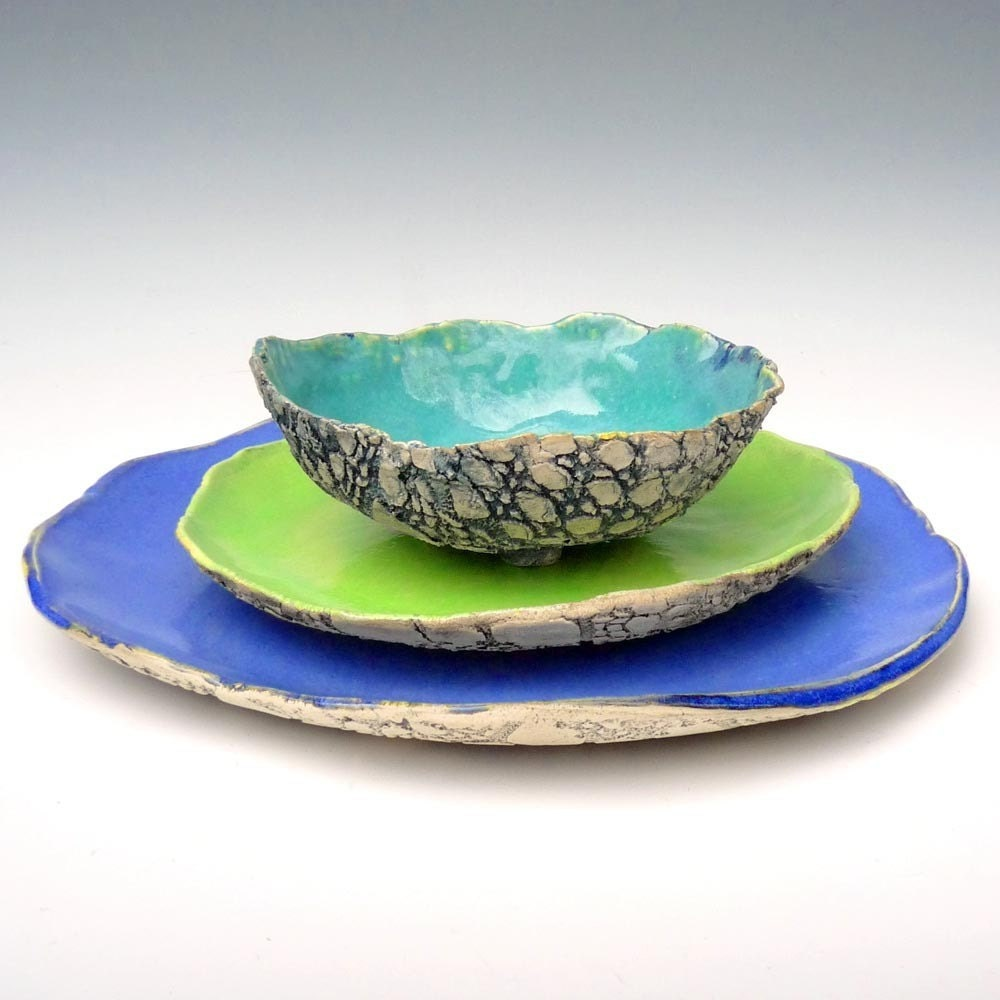 Rustic Stoneware Dinnerware Handmade Beach Cottage 3 Piece Set