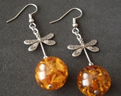 Pressed Amber Antiqued Silver Dragonfly Dangle Earrings
