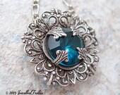 December Birthstone Blue Zircon Vintage Glass  Silver Oxide Rose Filigree Pendant