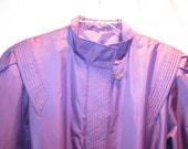 1980s Radical Purple Raincoat with Big Shoulder Pads Size 15/16