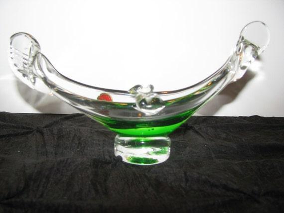 Vintage Green Murano of Italy Glass Gondola Art Glass Ashtray Emerald Green