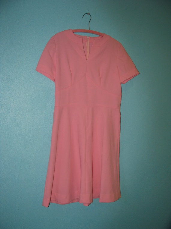 RESERVED                                                 Vintage Pink Polyester Dress Size 16 Plus Size