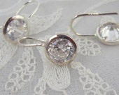 Silver Crystal Rivoli Earring Findings, One Pair, Jewelry Supplies