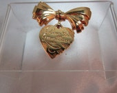Vintage Gold Grandmother Pin with Gold Bow and Heart  I Love You Grandmother
