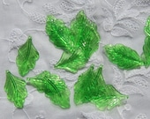 Large Lucite Leaves, Shiny Green, 16 Pieces, Jewelry Supplies, Craft Supplies