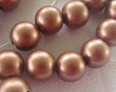 Satin Acrylic Pearls, Copper Color, Full Strand, 8 mm, Jewelry Supplies