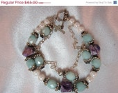 On Sale Double Strand Akoya Pearl, Charoite, Raw Aquamarine Sterling Silver Bracelet