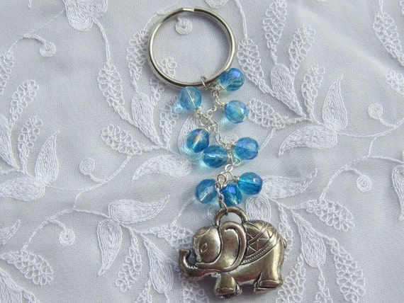 Silver Elephant Keychain with Blue Crystals