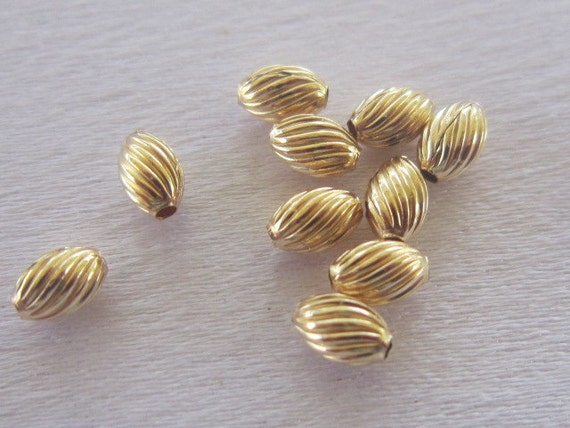 14K Gold Fill Twisted Corrugated Rice Bead, package of 10, 3.5mm