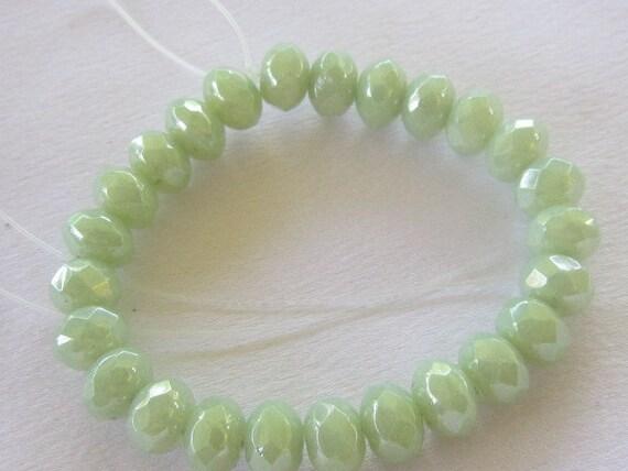 Czech Green Laurel Luster Rondels, 8 mm, 25 beads