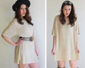 80s Beige Textured Oversized Shirt Dress