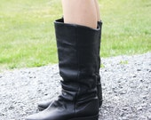 trampin traveler slouchy leather boots. size 7.5.
