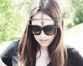 custom gothic gold cross chain headpiece. made to order.