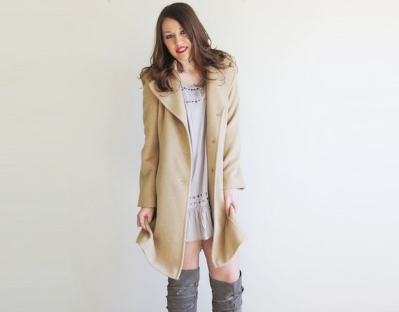 RESERVED for Fatima / Vintage Camel Hair 70s Beige Coat by Harry Levine RESERVED
