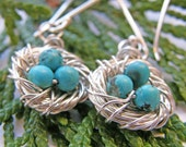 momma bird earrings- sterling and turquoise