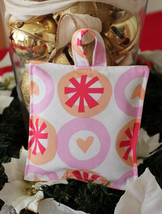 Lavender Sachet with hanger - White & Orange Heart